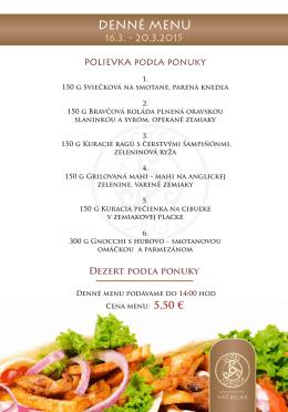 Denné menu - Hotel Sobota