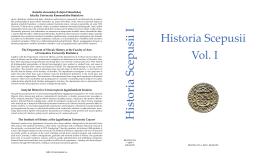Historia Scepusii Vol. I Historia Scepusii I