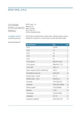 Zoznam strojového parku (PDF)