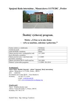 výchovný program - Spojená škola internátna, Prešov
