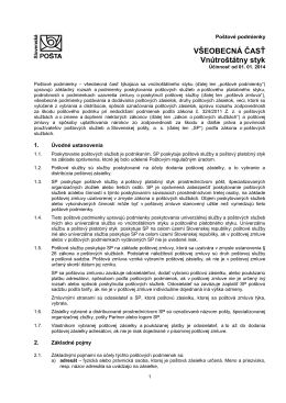 Poštové podmienky pre vnútroštátny styk - všeobecná časť