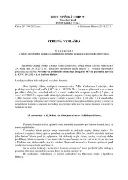 Verejná vyhláška 29.10.2012