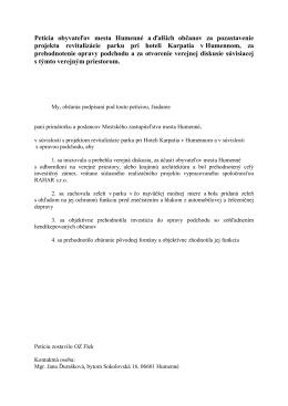 Petícia obyvateľov mesta Humenné aďalších občanov za