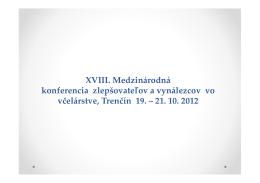 XVIII. Medzinárodná konferencia zlepšovateľov a vynálezcov vo