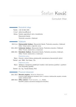 Štefan Kováč – Curriculum Vitae