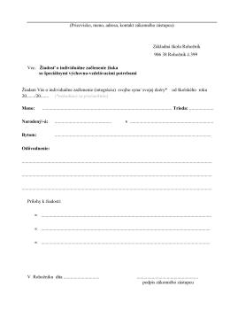 Žiadosť o individuálne začlenenie žiaka