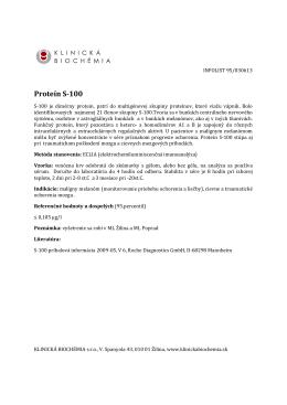 Proteín S-100 - KLINICKÁ BIOCHÉMIA sro