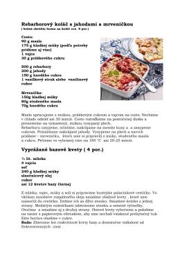 Rebarborový koláč s jahodami + kvety bazy