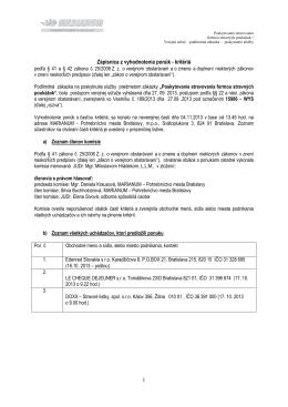 1 Zápisnica z vyhodnotenia ponúk - kritériá