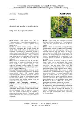 Amur - Výskumný ústav ovocných a okrasných drevín as Bojnice