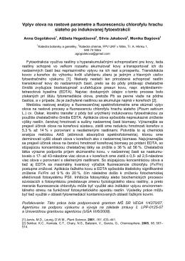 Vplyv olova na rastové parametre a fluorescenciu