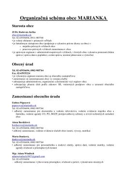 Organizačná schéma obce MARIANKA