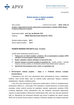 Ročná správa o riešení projektu za rok 2013