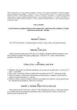 VZN č. 01/2013 o určení dotácie na podporu financovania