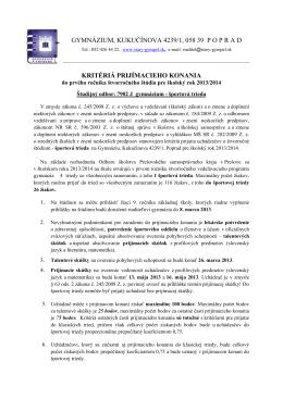 kritériá prijímacieho konania - Gymnázium, Kukučínova 4239/1