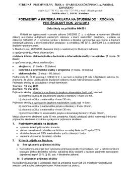 644501 Stredná priemyselná škola Komárno, Petöfiho 2, Komárno