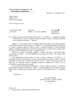 MINISTERSTVO OBRANY SR sekcia majetku a infraštruktúry