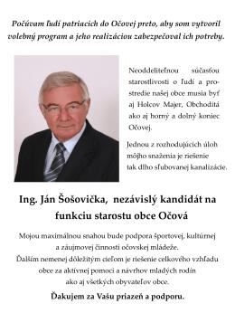 Ing. Ján Šošovička, nezávislý kandidát na funkciu starostu