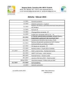Aktivity - február 2015
