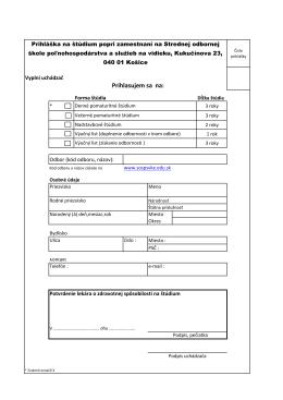 Prihláška na štúdium popri zamestnaní vo formate pdf na stiahnutie