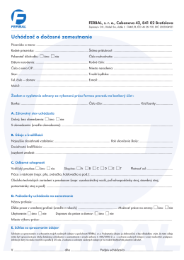 formulár pre uchádzača
