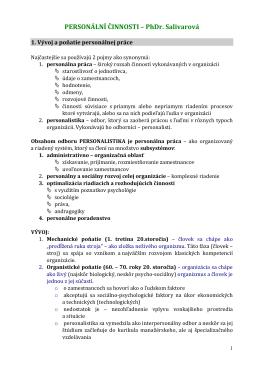 PERSONÁLNÍ ČINNOSTI – PhDr. Salivarová