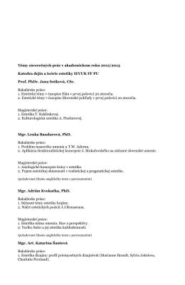 Témy bakalárskych prác 2012/2013