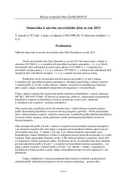 Stanovisko hlavného kontrolóra obce k ZÚ za rok 2013