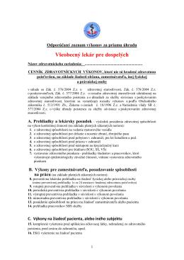 Všeobecný lekár pre dospelých - Asociácia súkromných lekárov SR