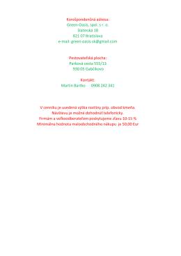 930 05 Gabčíkovo Parková cesta 555/13 Pestovateľská plocha