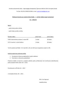 Kritéria prijímacieho konania pre štúdium popri zamestnaní