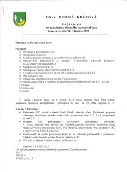 Obec HORNÁ KRÁLOVÁ Zápisnica zo zasadnutia obecného