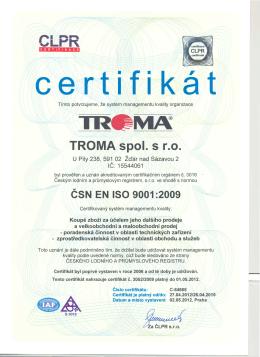 certifikat - Troma, spol. s ro