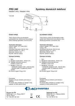 PRS 240 Systémy domácích telefonů
