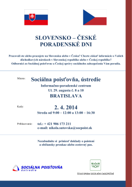 ČESKÉ PORADENSKÉ DNI Sociálna poisťovňa, ústredie 2. 4. 2014