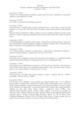Uznesenia z OZ č. 1/2013