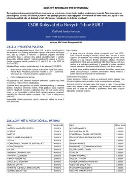 CSOB Dobyvatelia Novych Trhov EUR 1