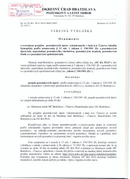 Verejná Vyhláška, Oznámenie o zverejnení projektu pozemkových