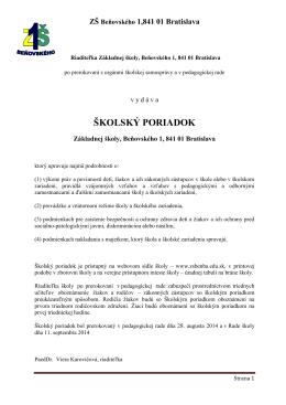 ŠKOLSKÝ PORIADOK - Základná škola Beňovského 1 Bratislava