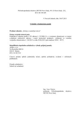Poľnohospodárske družstvo DEVIO Nové Sady, 951 24