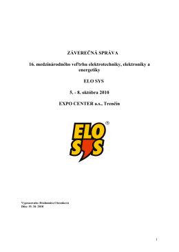 ELOSYS 2010 - ZÁVEREČNÁ SPRÁVA | SGB