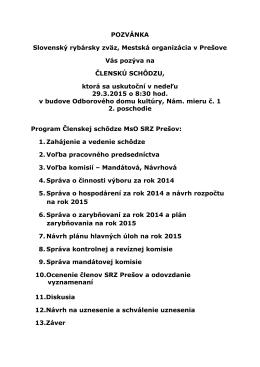Výročná členská schôdza - 29. 3. 2015
