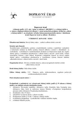 Letecký úrad Slovenskej republiky vyhlasuje