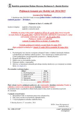 Prijímacie konanie pre školský rok 2014/2015
