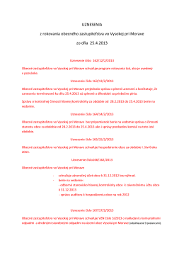 Uznesenia zo dňa 25.04.2013