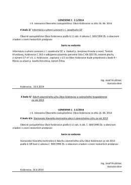 Uznesenia z OZ 16.6.2014