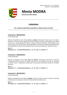Uznesenia 30. zasadania MsZ konaného 20.6.2013