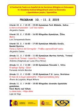 Stiahnite si program festivalu - Gymnázium, Park mládeže 5, Košice