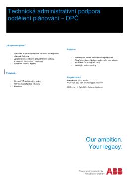 Technická administrativní podpora oddělení plánování – DPČ