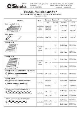 Cenník - lamináty rôzne profily PDF